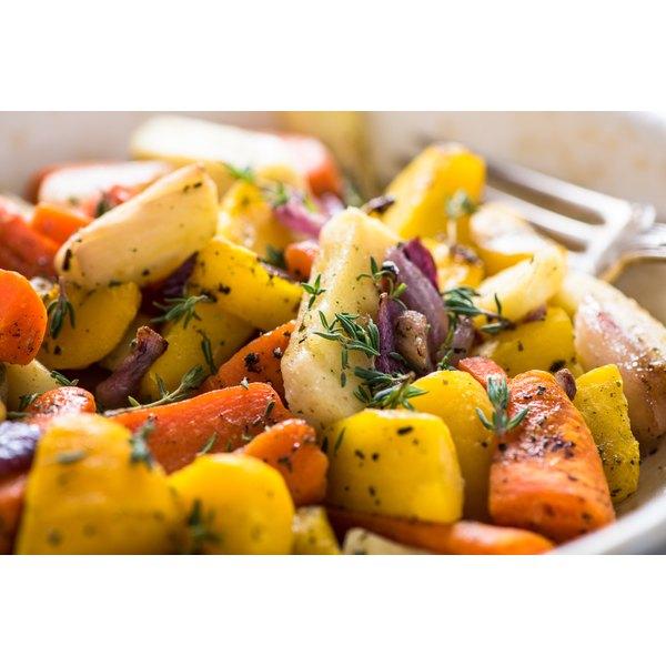 A bowl of seasoned roasted root vegetables.