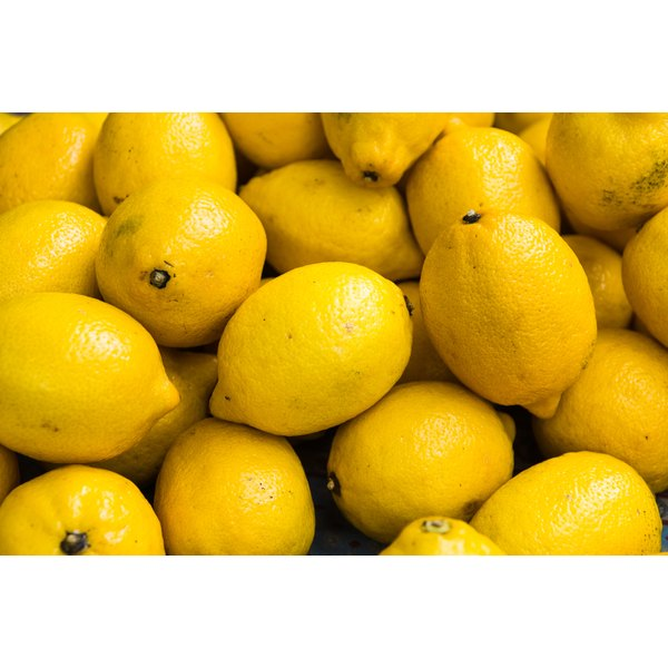 Lemons for sale at a market.