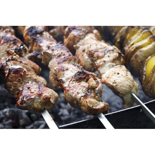Lamb meat on skewers.