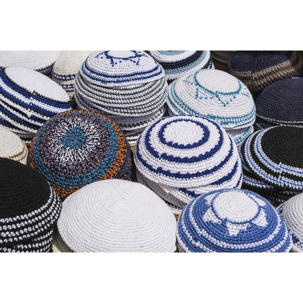 An assortment of Yarmulkes on display.