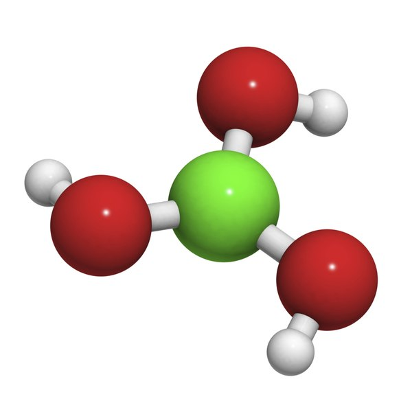 Boric acid molecule, chemical struction.