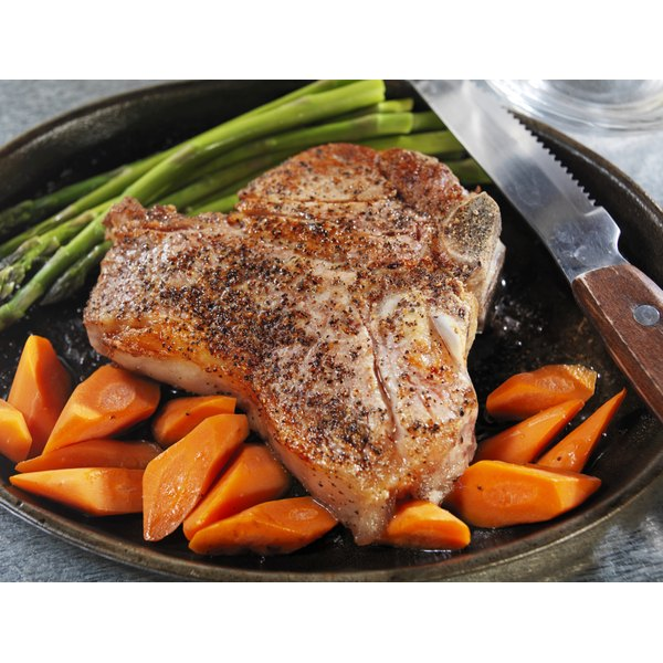 Pan seared veal and vegetables.