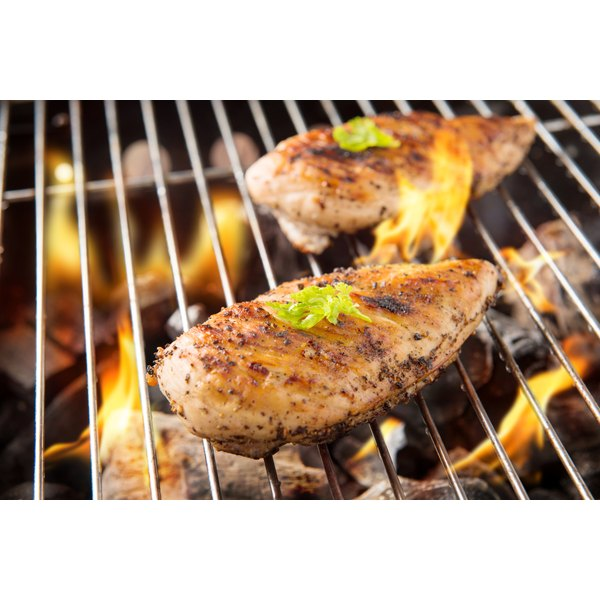 Chicken breasts on the grill.
