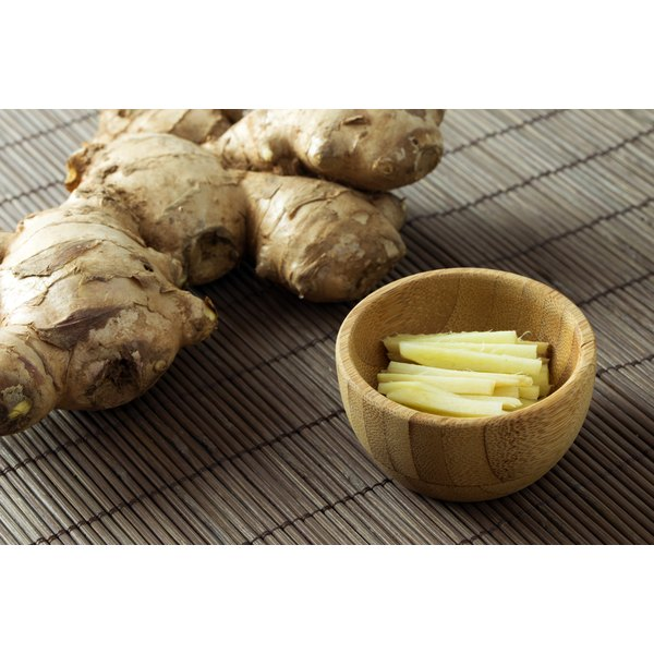 Fresh ginger root on a bamboo mat.