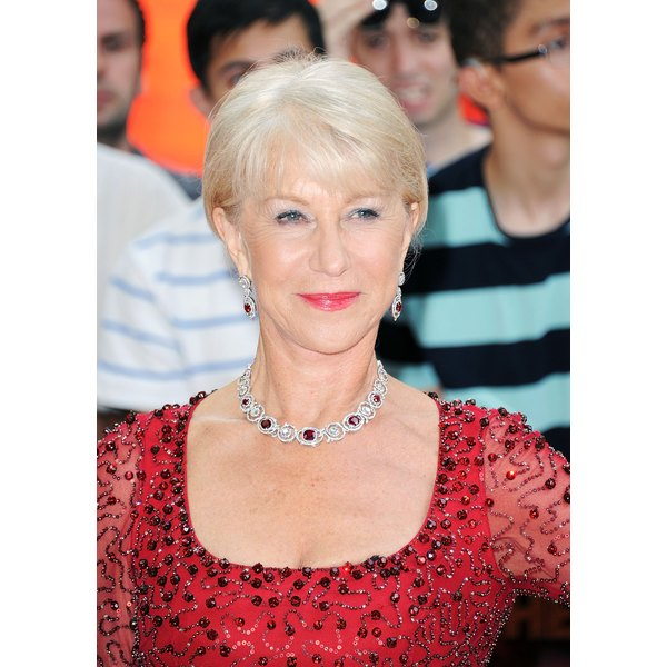 """Actress Helen Mirren sporting flattering hair color at the premiere of """"Red 2."""""""