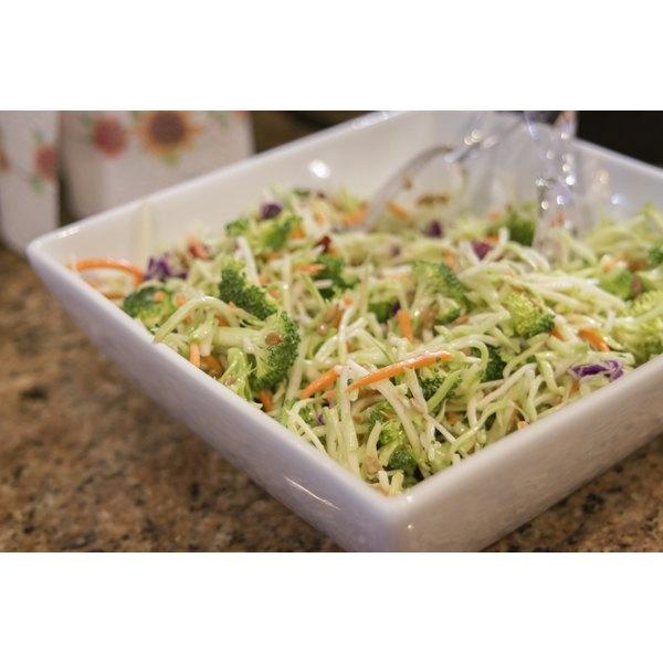 A bowl of broccoli slaw.