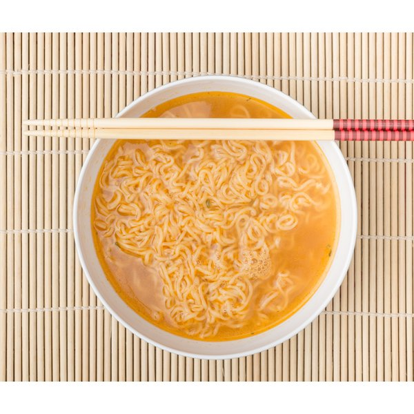 Ramen noodles in a bowl with chopsticks.