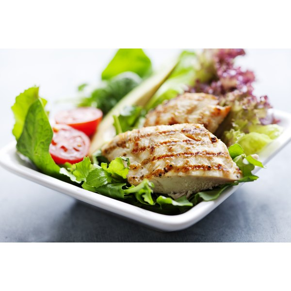 grilled chicken breast on salad
