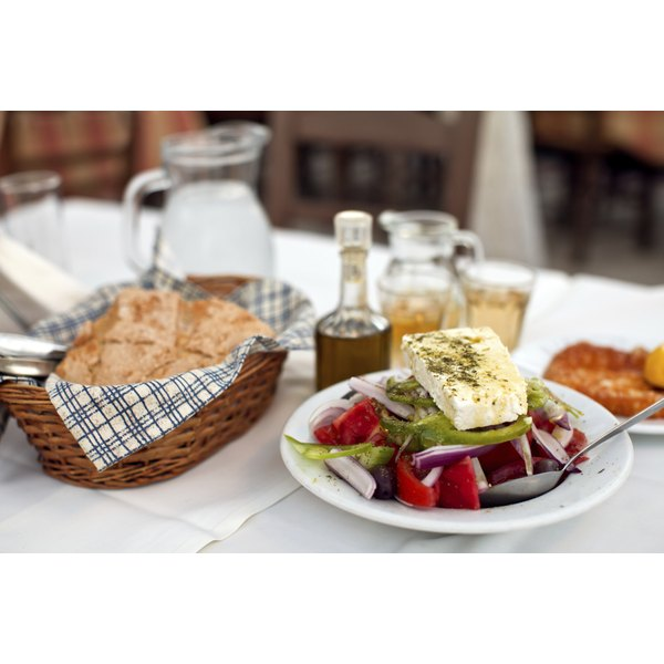 Serve Greek country breads with a traditional salad and oil for dipping.