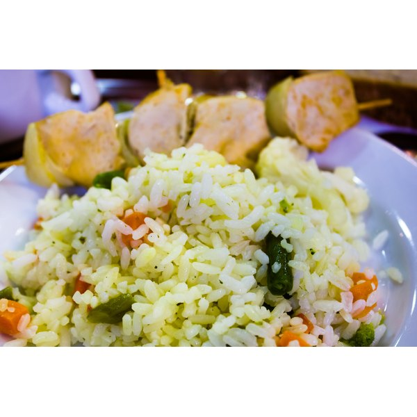 Steamed rice with vegetables and dumplings.