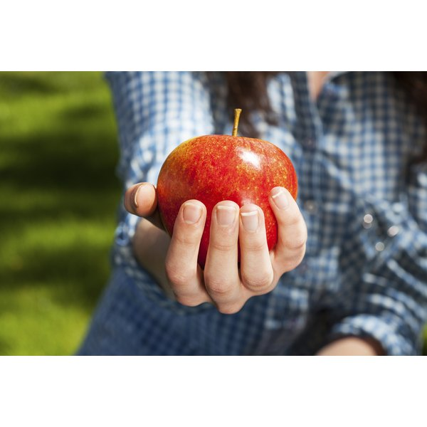 A close-up of a woman's fingers holding an apple in an orchard.