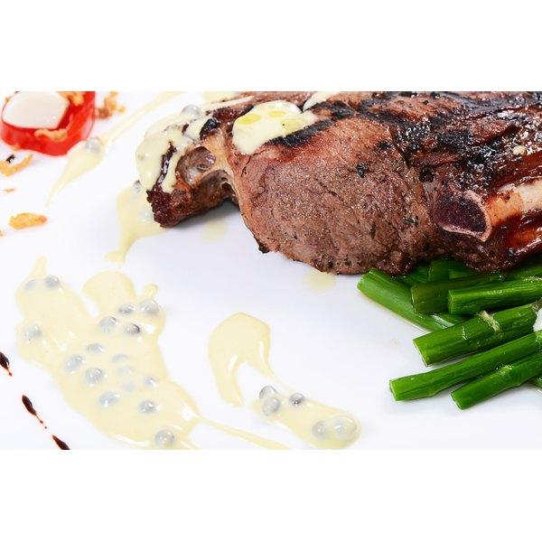 Venison chop on a plate.