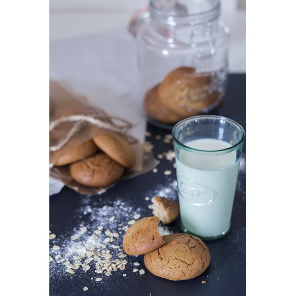 Soft and chewy oatmeal cookies call for a glass of cold milk.