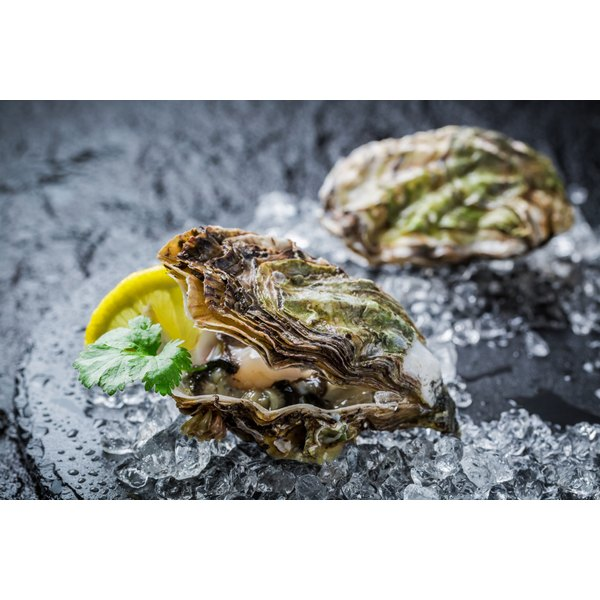 Raw oysters on a platter with ice.
