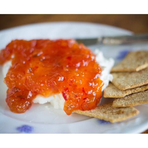 Jelly and cream cheese with Wheat Thin Crackers.