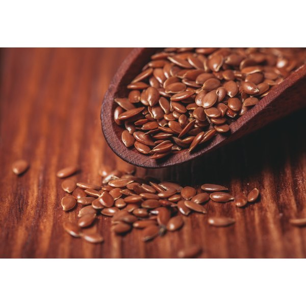 Flaxseed's on a wooden table.