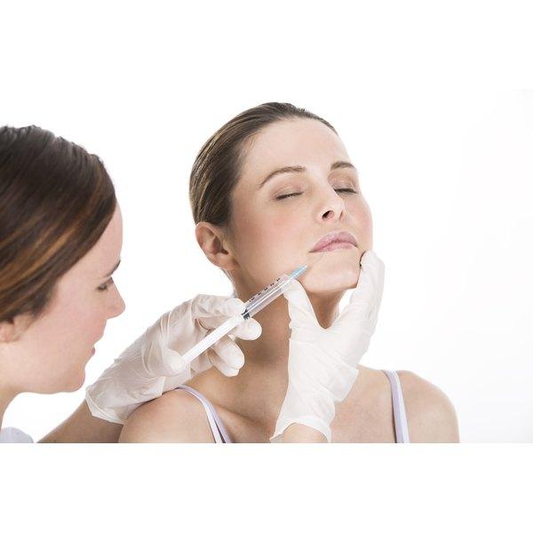 A woman receives a Botox shot.