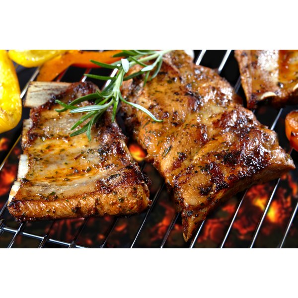 Barbecued ribs on the grill.
