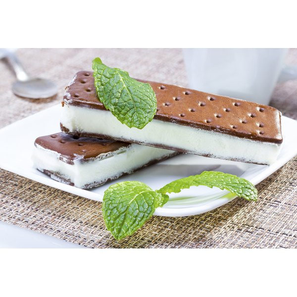 Two Icecream Sandwiches On A Plate With Fresh Mint Leaves