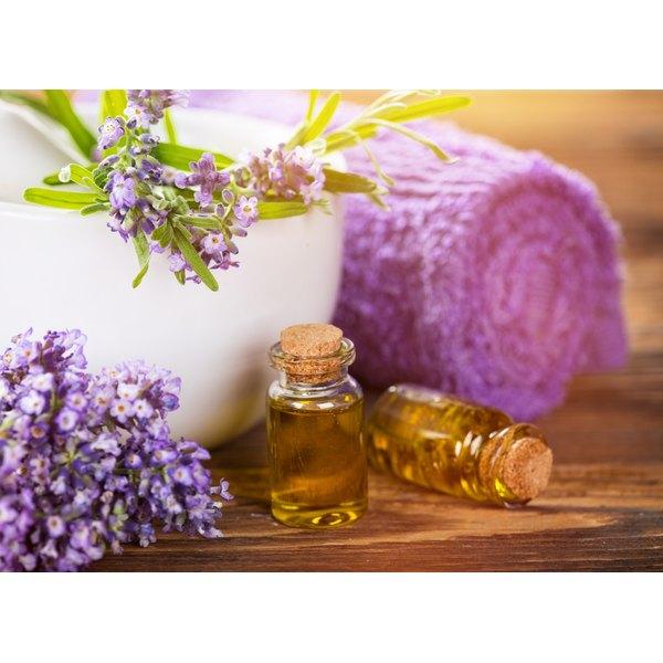 Essential oils and fresh lavendar in the bathroom.