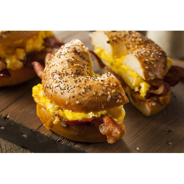 A breakfast bagel sandwich.