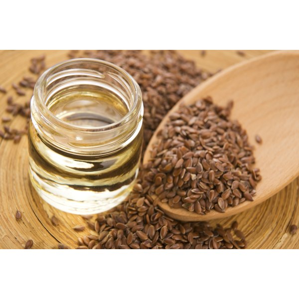 A small jar of flaxseed oil.