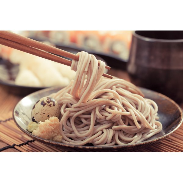 A plate of buckwheat noodles.