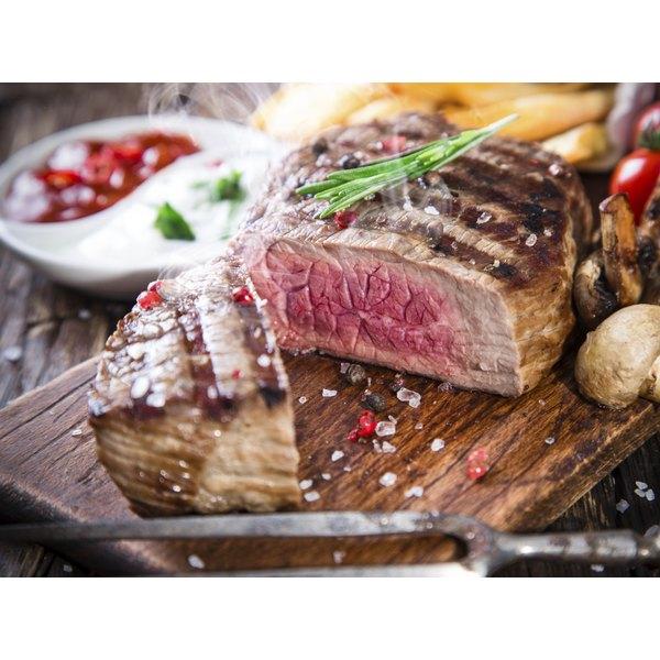 Close-up of beef tenderloin on cutting board