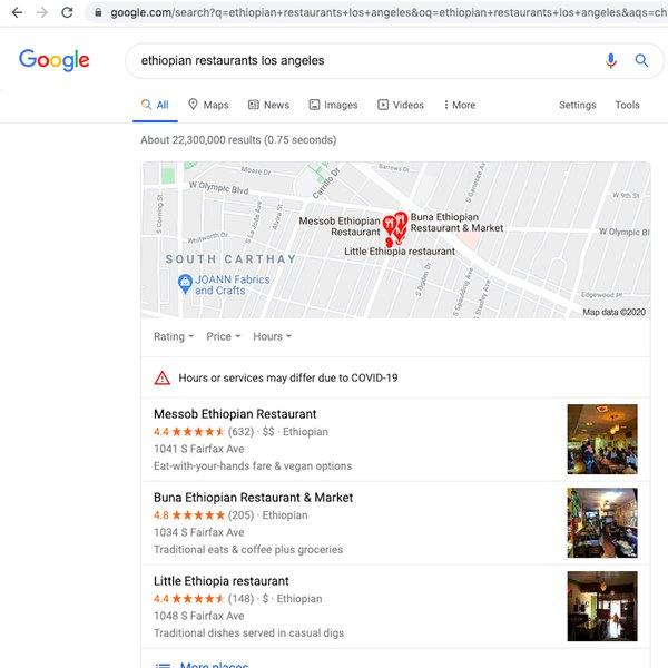 Captura de pantalla de la consulta de Google.