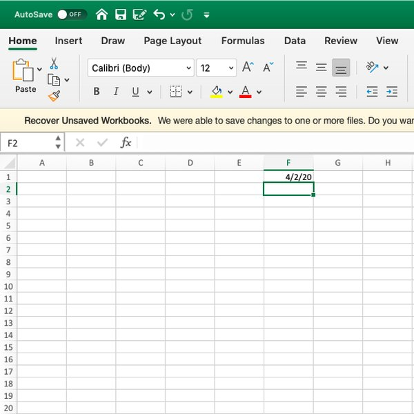 Screenshot of current date in Excel displayed in cell.
