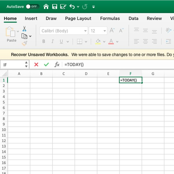 Screenshot of current date formula in Excel.