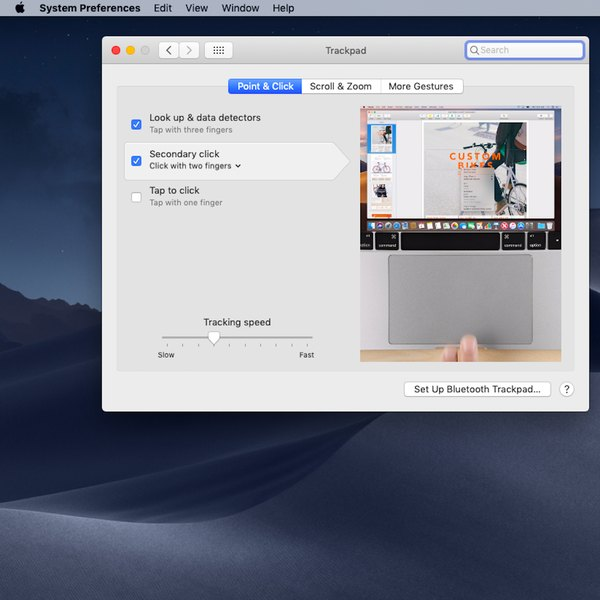 Ajustes y configuraciones del trackpad en Mac.