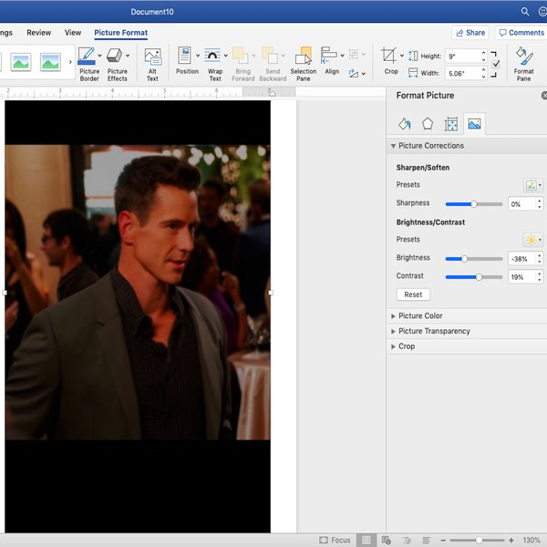Adjusting brightness and contrast of image in Word.