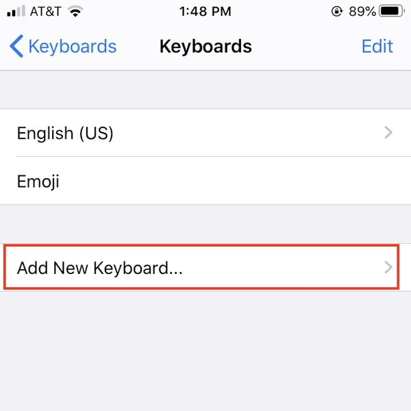 Adding new keyboard on iPhone.