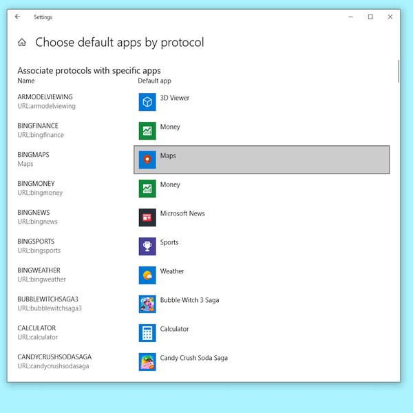 List of default apps by protocol in Windows.