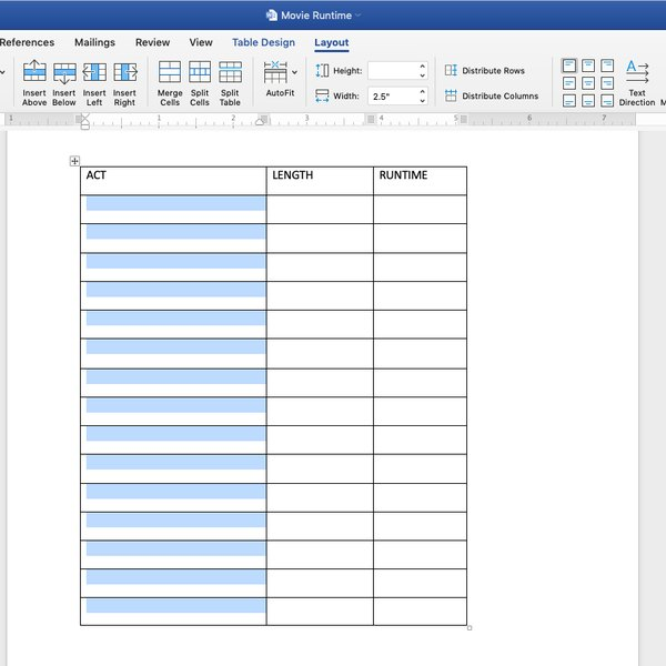 Highlighting cells to split in MS Word table.