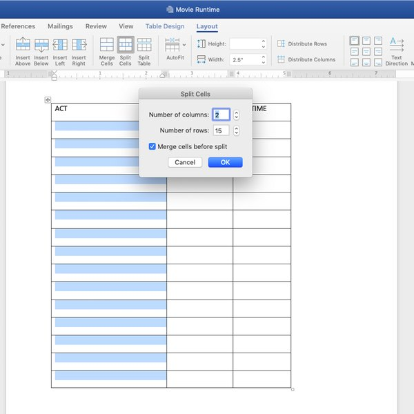 Splitting cells using Layout tab in Word.