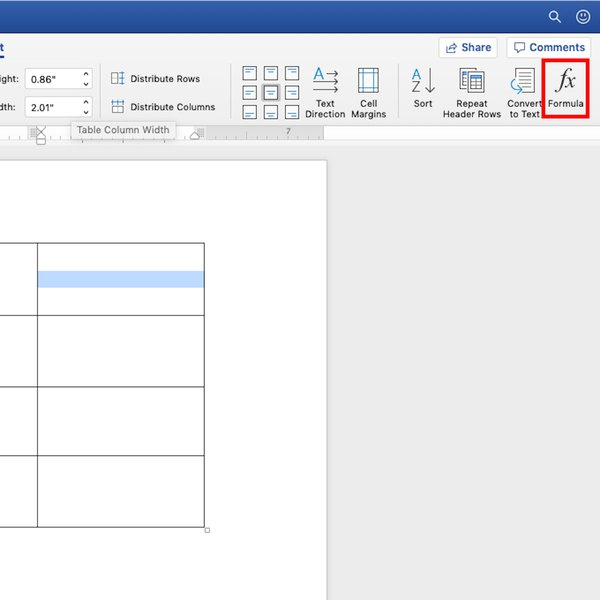 Creating formula for table in Word.