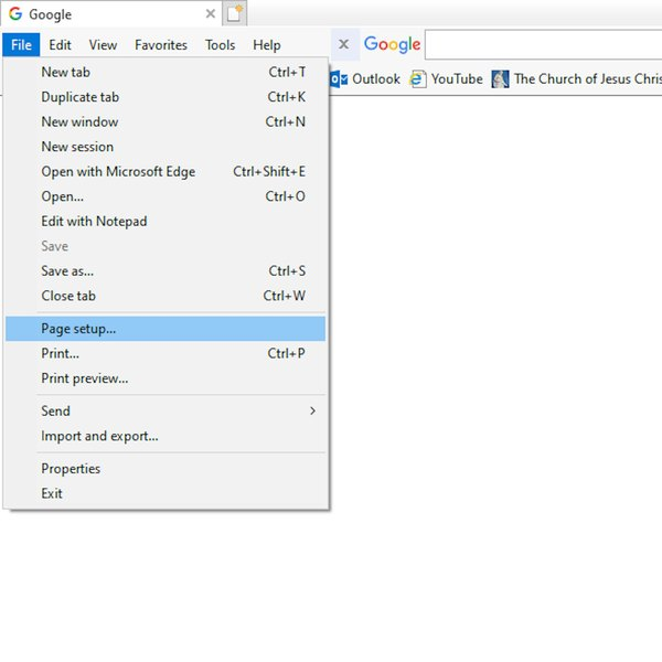Page setup in Internet Explorer.