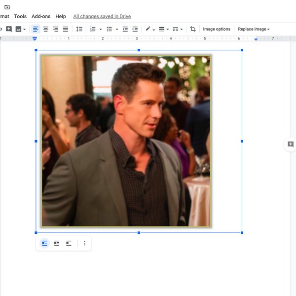 Making image wider in Google doc.