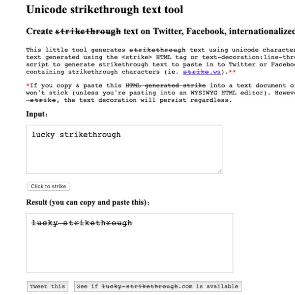 Strikethrough text generator tool.