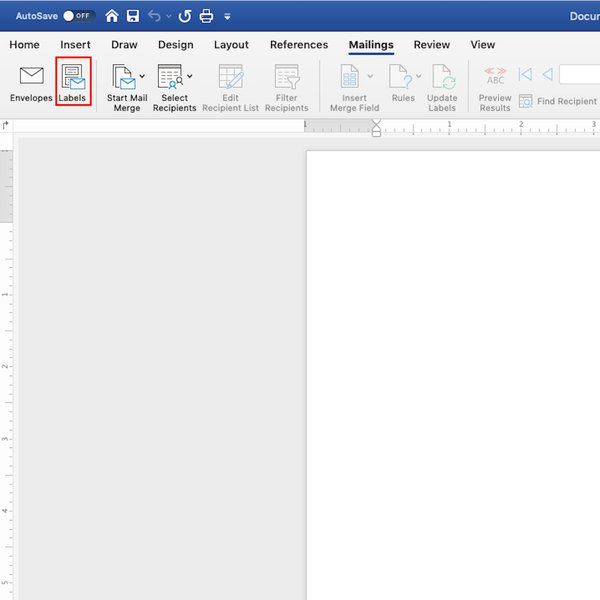 Labels toolbar under Mailings in Word.