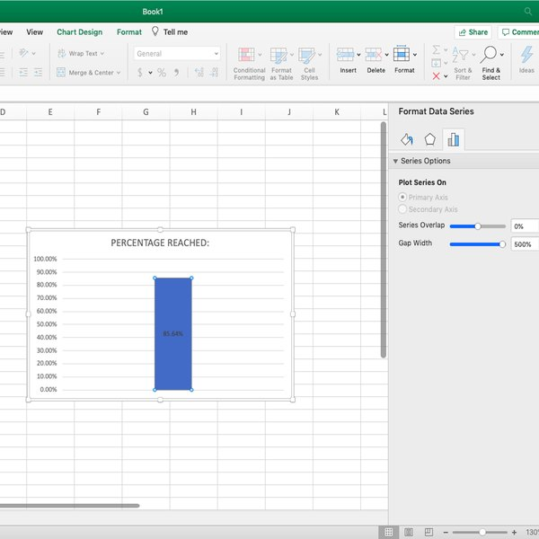 Adjusting column width in thermometer chart in Excel.