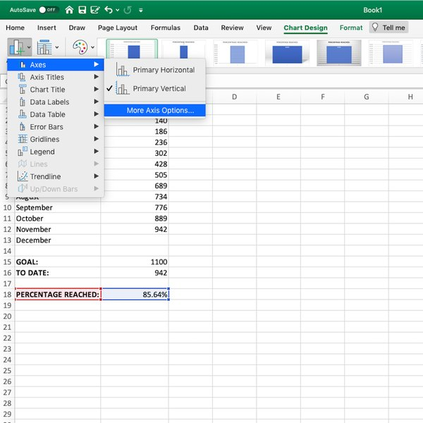 Adding Chart Element and selecting Axis Options for chart in Excel spreadsheet.