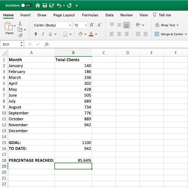 Cell with percentage in Excel spreadsheet.