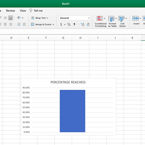 Clustered Column based on Percentage Reached of goal in Excel.