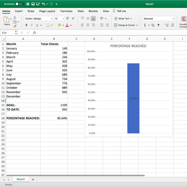 Newly created thermometer chart in Excel.