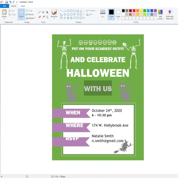 Pasting flyer into MS Paint.