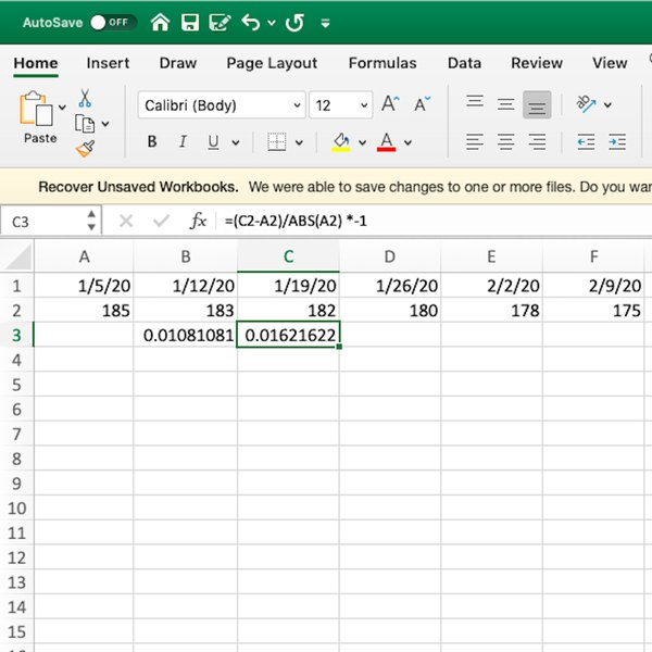 Weight loss calculation formula in Excel.