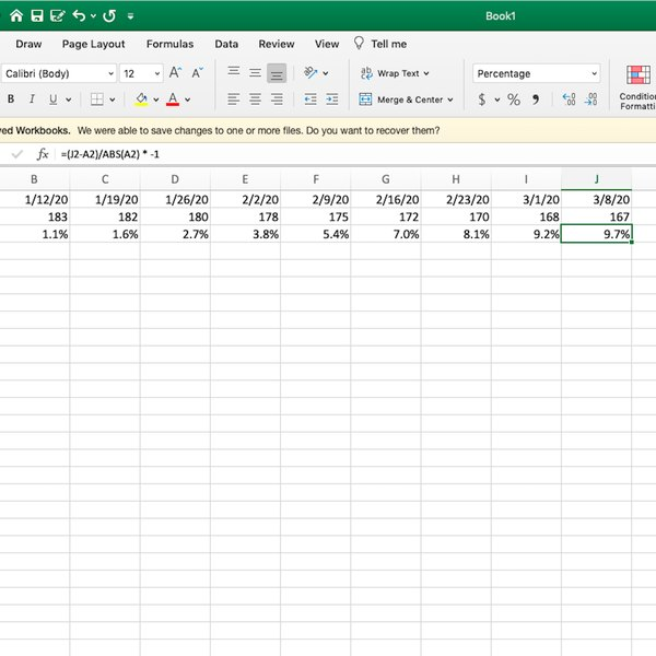Weight loss week results as percentages rounded to the nearest tenth in Excel.